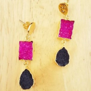 Pink and Black Druzy Agate Stone Gold Drop Earrings