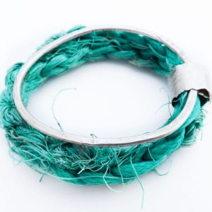 Recycled Silver and Sea-String Bangle