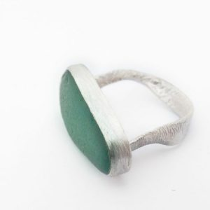 Sea-Glass Eco-Silver Ring medium