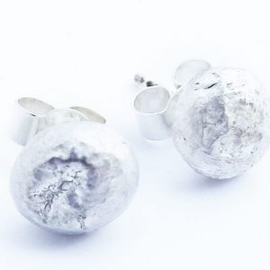 Silver Fused Moon Studs