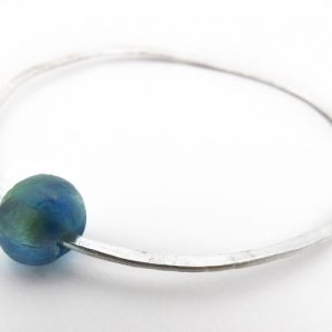 Silver Recycled Bottle Bead Bangle