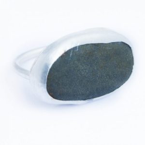 Slate Pebble Silver Ring - SLATE PEBBLE SILVER RING1 500x500
