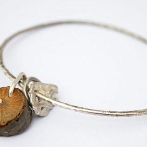 Twig Charm Silver Bangle