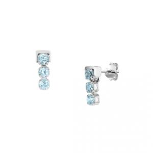 San Shi Blue Topaz Stud Earrings, Sterling Silver
