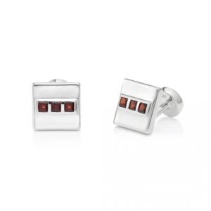 San Shi Garnet Cufflinks, Sterling Silver