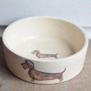 Hand Thrown Wire Haired Dachshund Dog Bowl