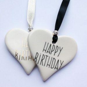 Happy Birthday Ceramic Hearts