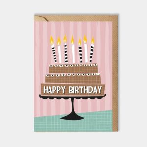 Birthday card: pink cake