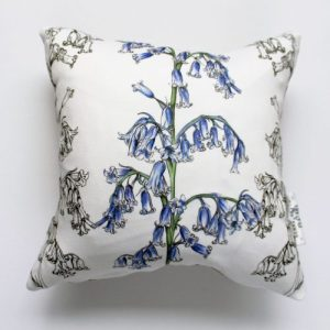 Bluebells Flower Large Cushion | Handmade and Designed by Gemma Keith - Bluebells Large Front scaled 500x500