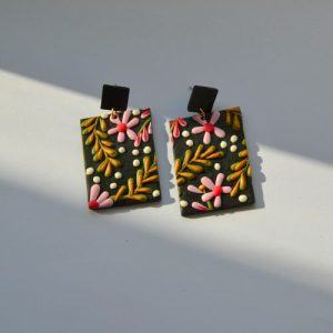 William Morris Inspired, Floral Clay Bold Colourful Rectangle Stud Earrings, Gift For Her - DSC 0703 500x500