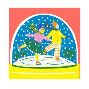Ice Skaters Snowglobe Card