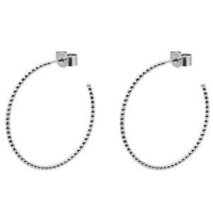 Large Sphere Hoop Earrings – Silver