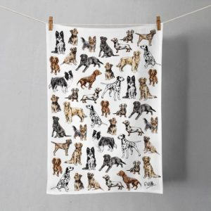 Lots of Dogs Cotton Tea Towel   Printed in the UK   Designed by Gemma Keith - Lots of Dogs Mock Up 500x500