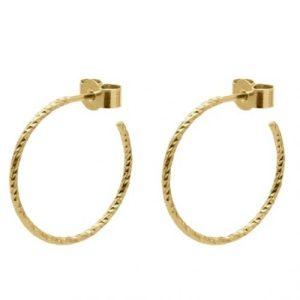 Medium Diamond Hoop Earrings – Gold