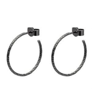 Medium Diamond Hoop Earrings – Oxidised Silver