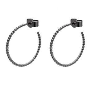 Medium Sphere Hoop Earrings – Oxidised Silver