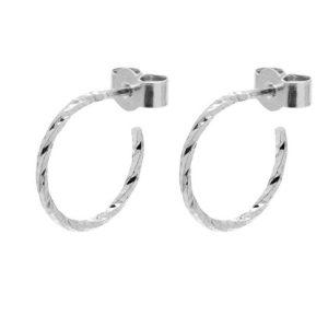 Mini Diamond Hoop Earrings – Silver