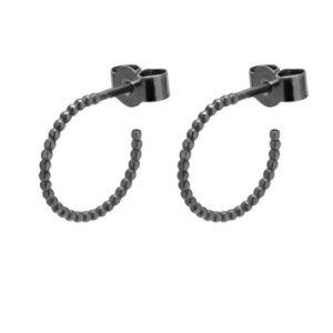 Mini Sphere Hoop Earrings – Oxidised Silver
