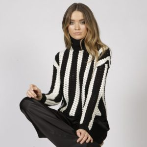 Stockholm Black/White Roll Neck Jumper - STOCKHOLM BLACK WHITE 1 500x500