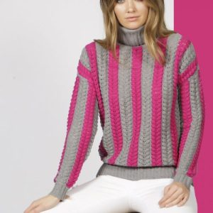 Stockholm Grey/Fuchsia Roll Neck Jumper - Stockholm Mid Grey  Fuchsia Pop 2 500x500