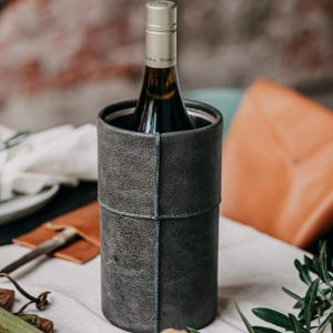 """The Savage Cooler"" Leather Wine Cooler - The Savage Cooler Grey scaled 500x500"