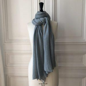 Foamy cashmere scarf 4 ply 58% cashmere 42% linen 200x60 cm - Echarpe Evesome 20060 lin cachemire Cove 45 500x500