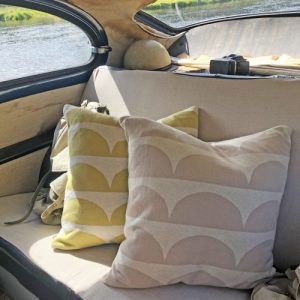 Kamelia 100% Brushed Cotton Pillow Cover - Kamelia beige olive pillows inside car 500x500