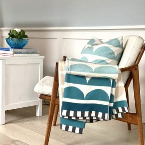 Kamelia Plaid 100% Brushed Cotton Blanket - Kamelia blanket pillow blue teakchair 1 scaled 500x500