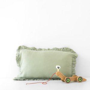 Sage Kids Frilled Washed Linen Pillow Case - Sage Frilled PIllow Case 500x500
