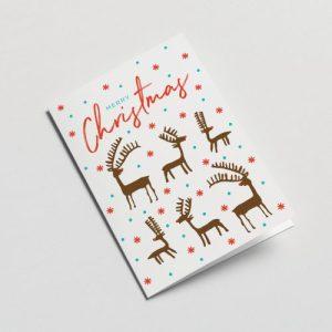 Deers Christmas Greeting Card ( White )