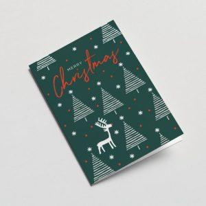 Christmas Trees and deer Greeting Card