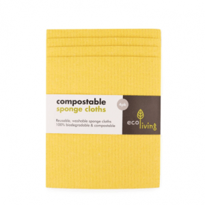 Compostable UK Sponge Cleaning Cloths (4 Pack) - Yellow Sponge 2 500x500