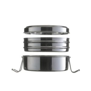 Circular stainless steel lunchbox