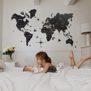 Wooden World Map Cut Out Travel Wall Map Color Black Full