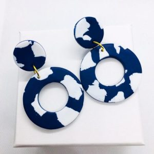 Catalina - Large Earring White on Navy - CAT301 500x500