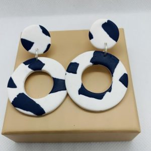 Catalina - Large Earring Navy on White - CAT302 500x500