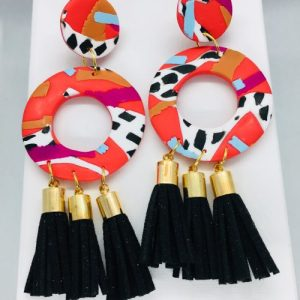 Cruella - Large Tassel Earring Black - CRU502 500x500