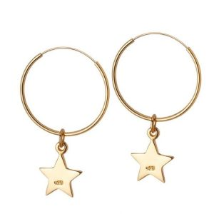 Gold Plated Hoop with Star 18 MM - gouden ring met ster 18mm 500x500