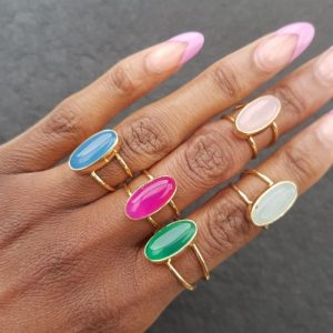 YAA YAA LONDON adjustable semi precious stone gold plated ring - 20200317 154248 500x500