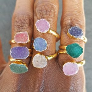 Triple Druzy Agate Stone Gold Rings - 20200422 124333 rotated 500x500