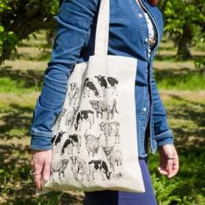 Cows Screen Printed Cotton Tote Bag   Hand Drawn Design by Gemma Keith