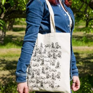 Foxes Screen Printed Cotton Tote Bag   Hand Drawn Design by Gemma Keith