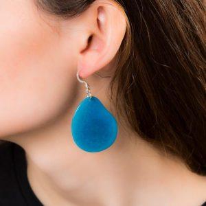 Bright Blue Tagua Slice Earring