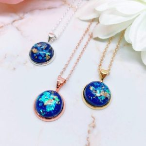 Royal Blue Gold Fleck Resin Pendant Necklace