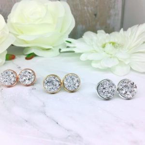Silver Druzy Stud Earrings - IMG 6599 500x500
