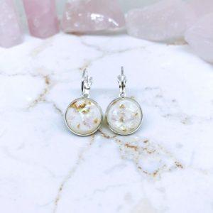 White Gold Fleck Resin French Lever Earrings