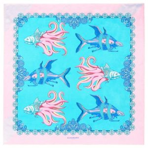 Fish square silk scarf pink blue