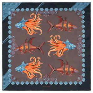 Fish square silk scarf Black Brown