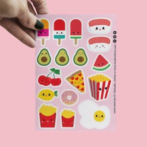 STICKERS SUSHI FRUIT AND FAST FOOD - Stickervel A6 mock up FOOD pink 500x500