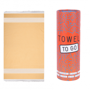 Towel to Go l Oasis hammam towel in mustard with recycled gift box TTG2TR